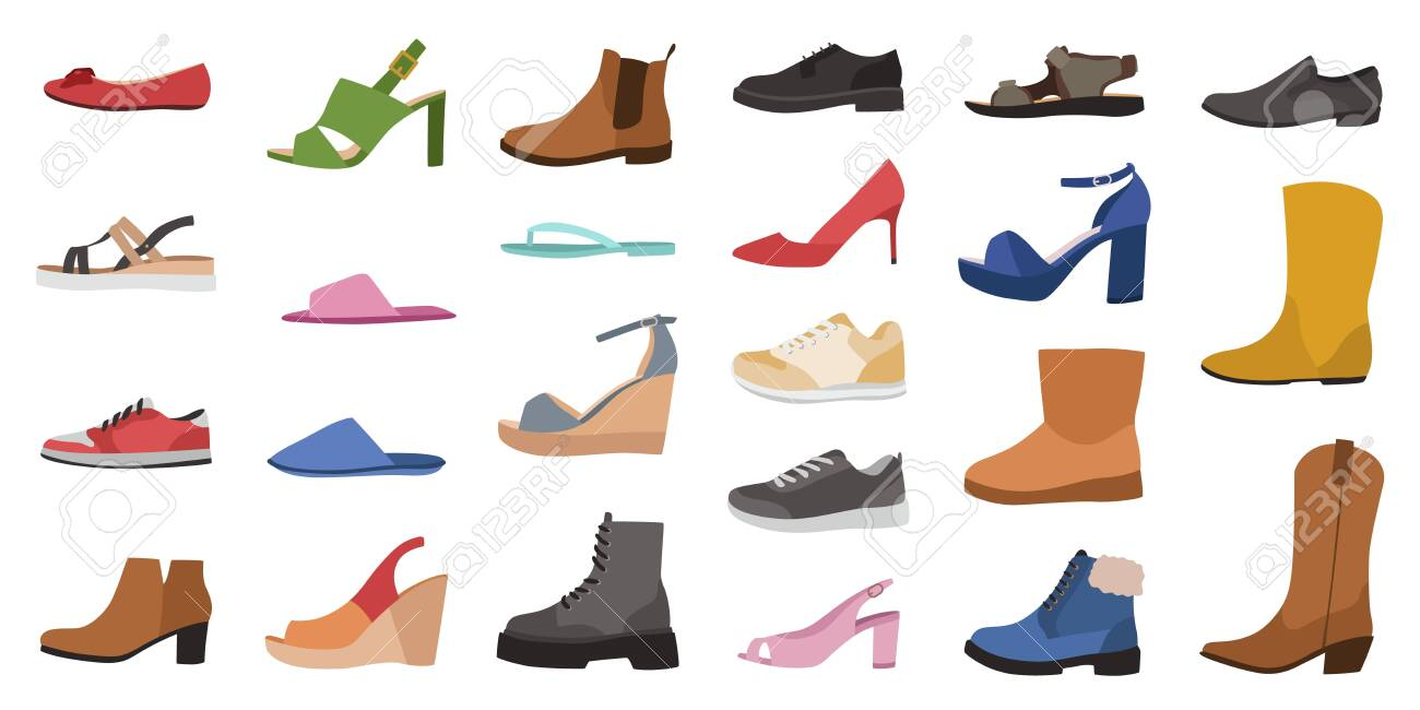 Shoes. Mens, womens and childrens footwear different types, trendy casual, stylish elegant glamour and formal shoes cartoon vector side view set - 145659283