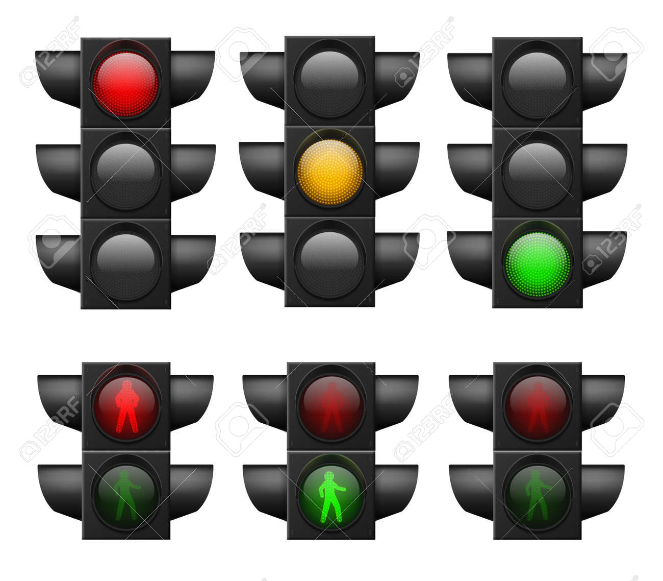 Realistic traffic light. Led lights red, yellow and green, crosswalk and road safety, control accidents, signals street regulation system vector set isolated on white background - 150890903