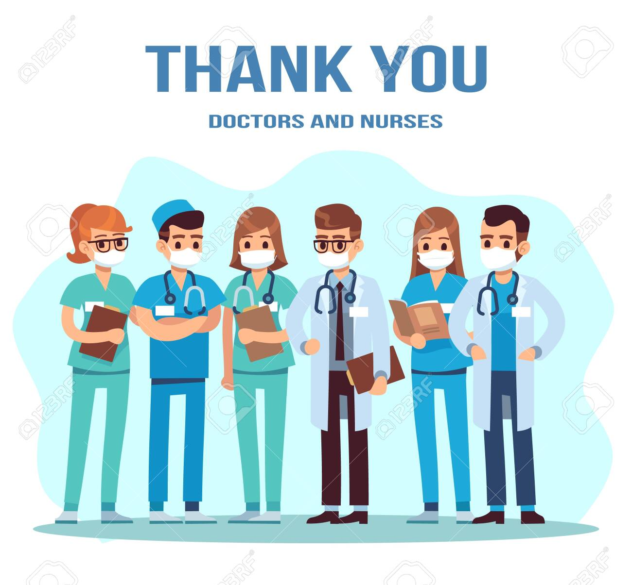 Thank you doctor and nurse. Team of young doctors for fighting the coronavirus, group of medical staff standing in uniform, masks with stethoscope, pandemic concept flat vector cartoon illustration - 151842000