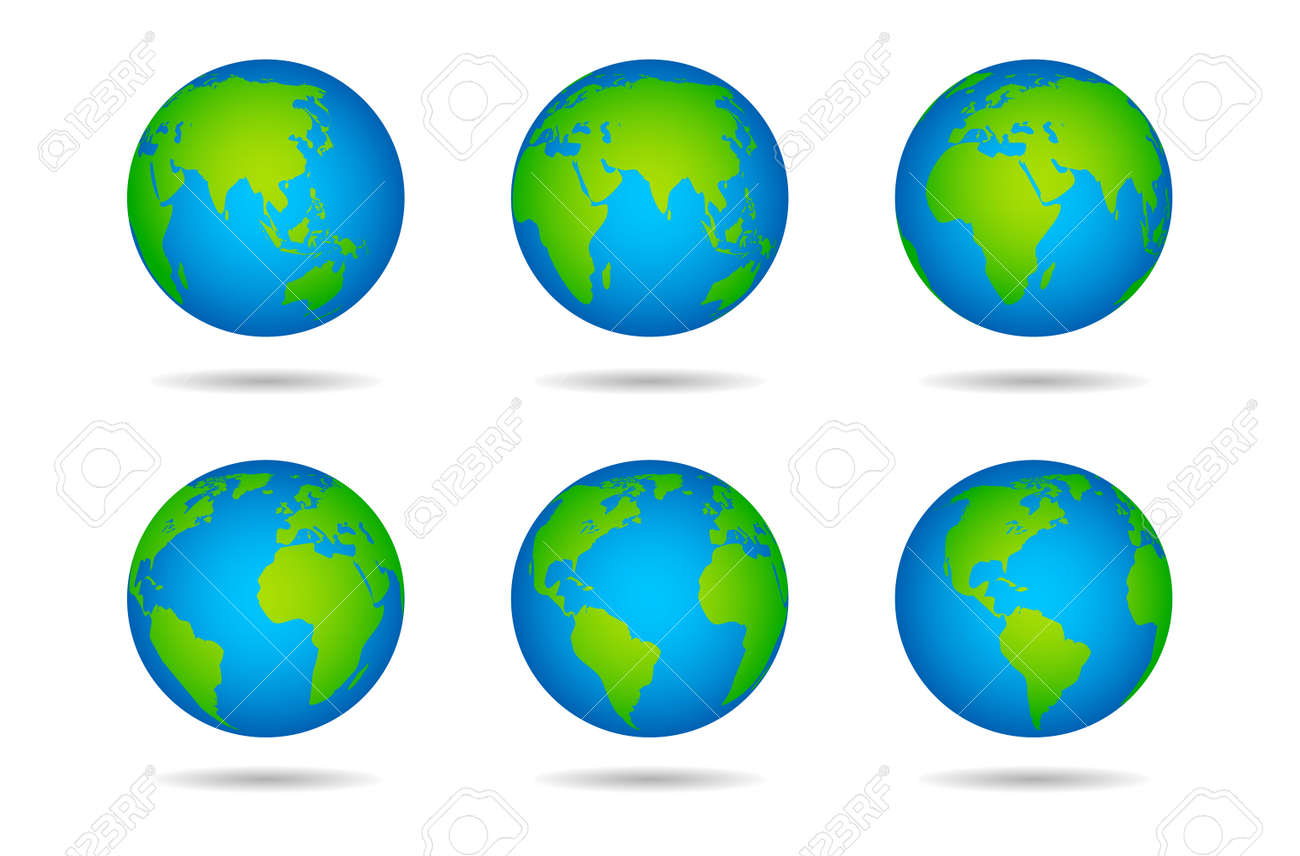 Earth globe. Sphere world map with continents on white background, globes from different angles, varios green continents and blue oceans, land and water vector illustration - 152911561