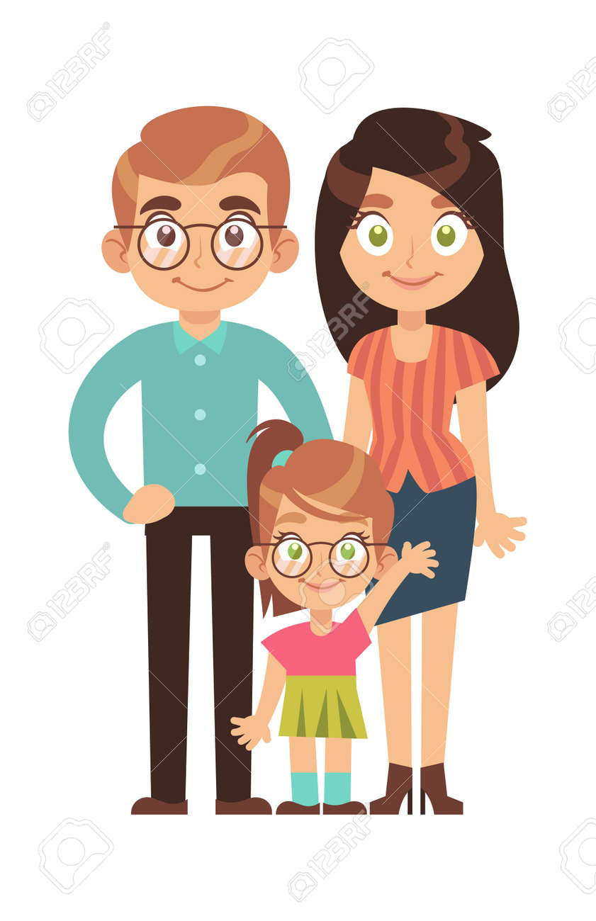 Happy family. Parents with child little girl, mom dad and daughter smile stand and hold hands cartoon character, relationships parenthood concept, flat vector isolated illustration - 153744644