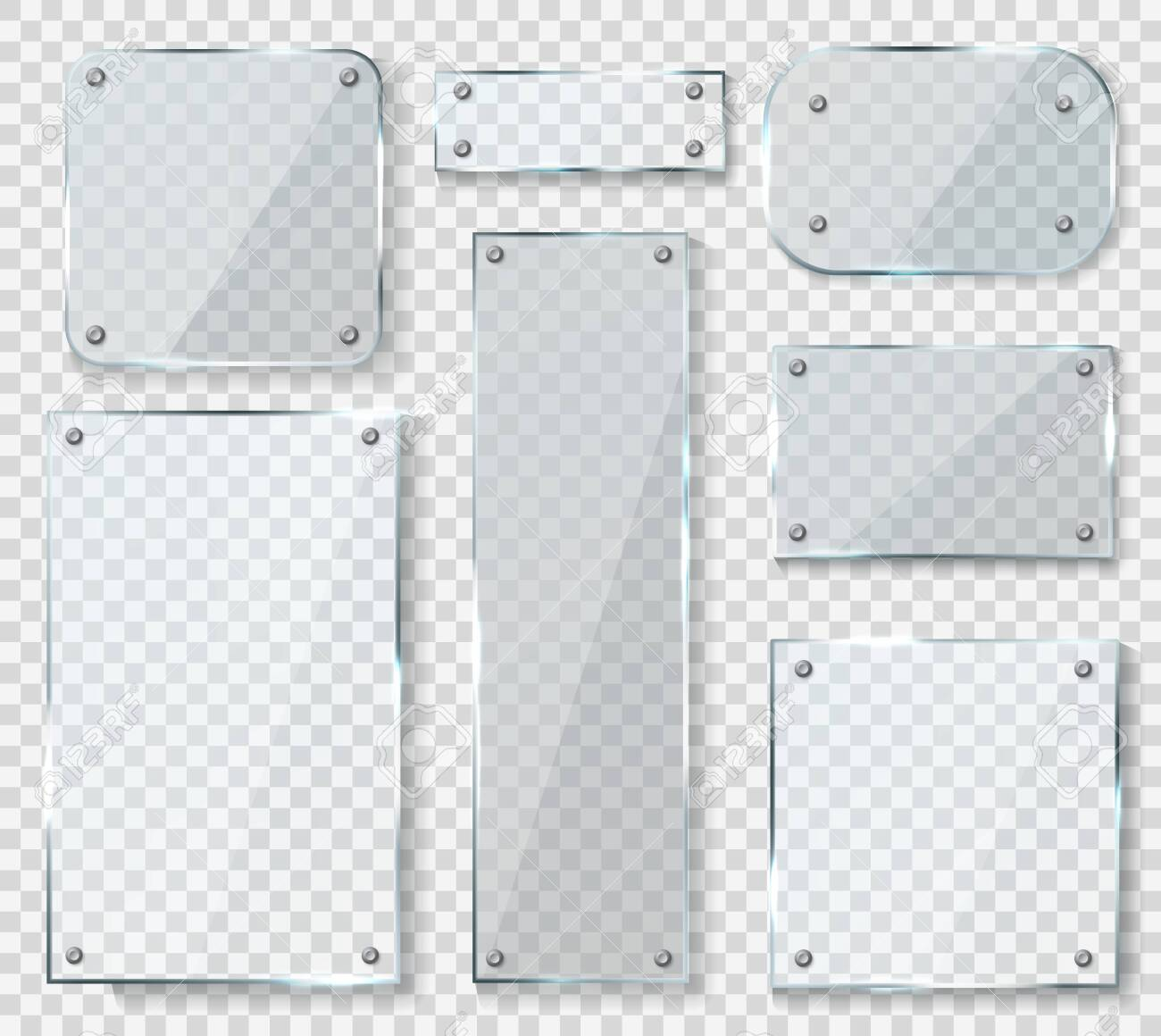Glass panels with screws. Acrylic empty square banners with glossy glare reflections set, realistic clear wall window with shadows isolated on transparent background, 3d vector mockups collection - 153744668