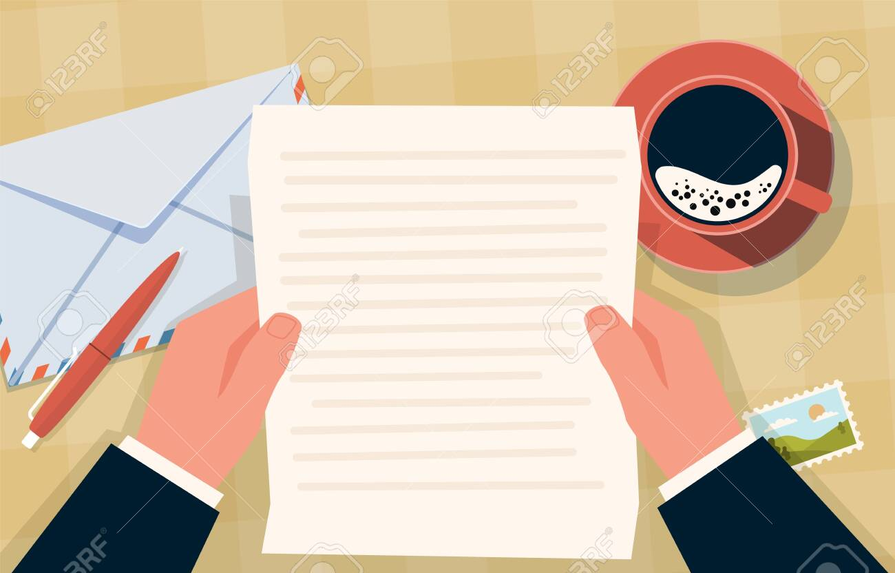 Hand holding envelope. Correspondence paper letter and stamps, coffee cup and pen on table, postal mailing preparation, top view vector cartoon flat concept - 153744696