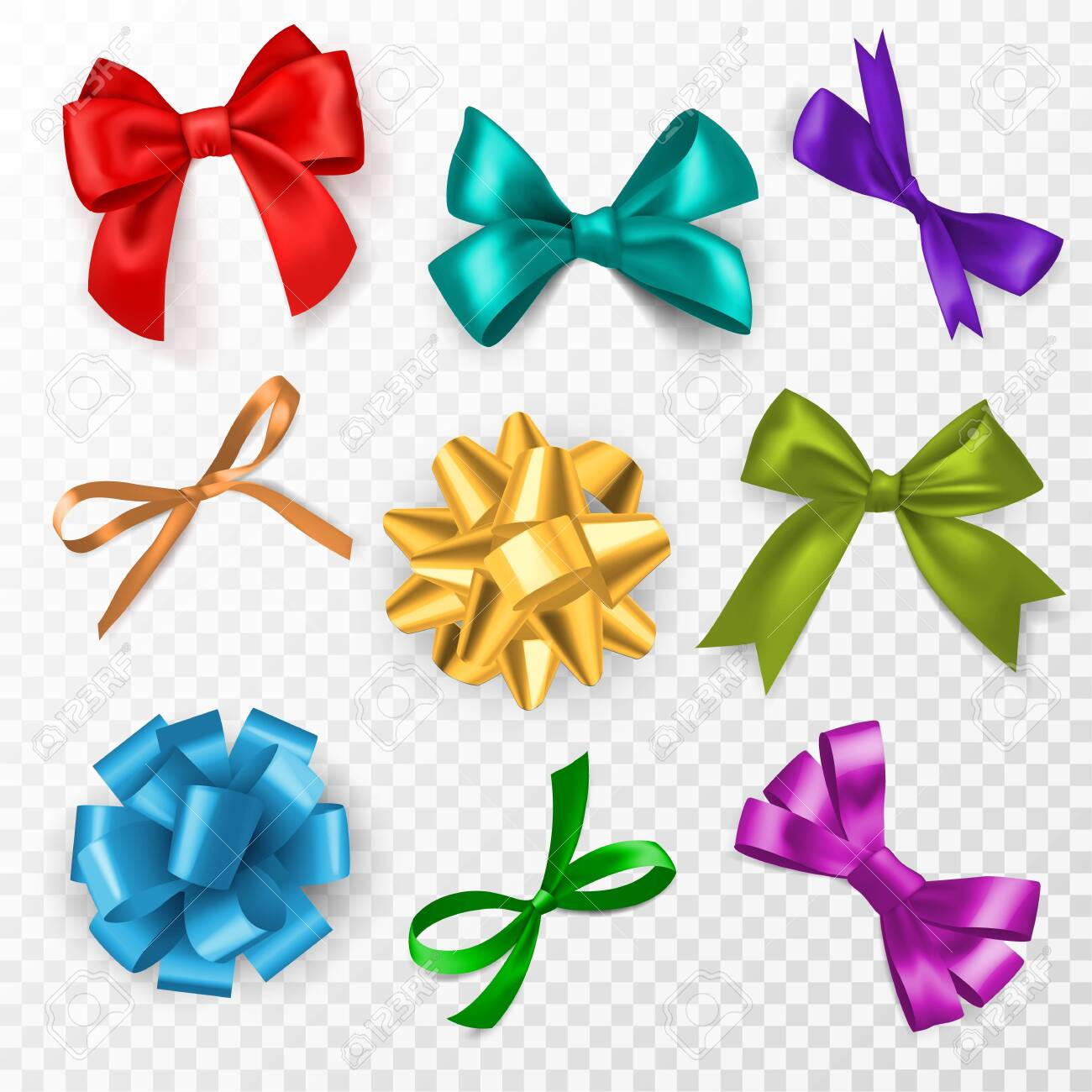 Multi-color gift bows. Red, blue and gold, pink silk ribbon bow for christmas, birthday present and wedding card decoration, packaging elegant gift tape vector set on transparent background - 154006988