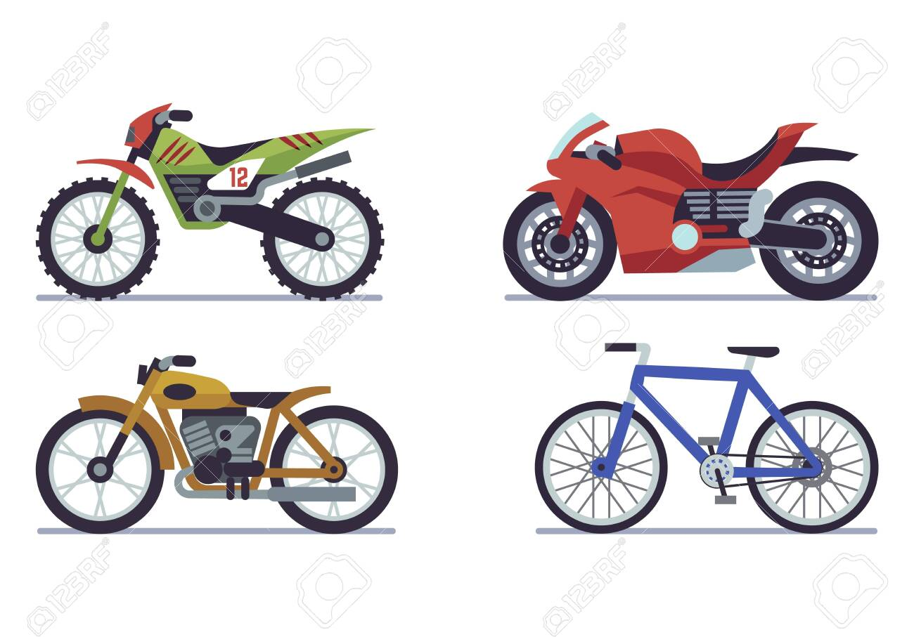 Set Of Vehicles Racing Motorcycles Sports Mountain Bike For Royalty Free Cliparts Vectors And Stock Illustration Image 154007031
