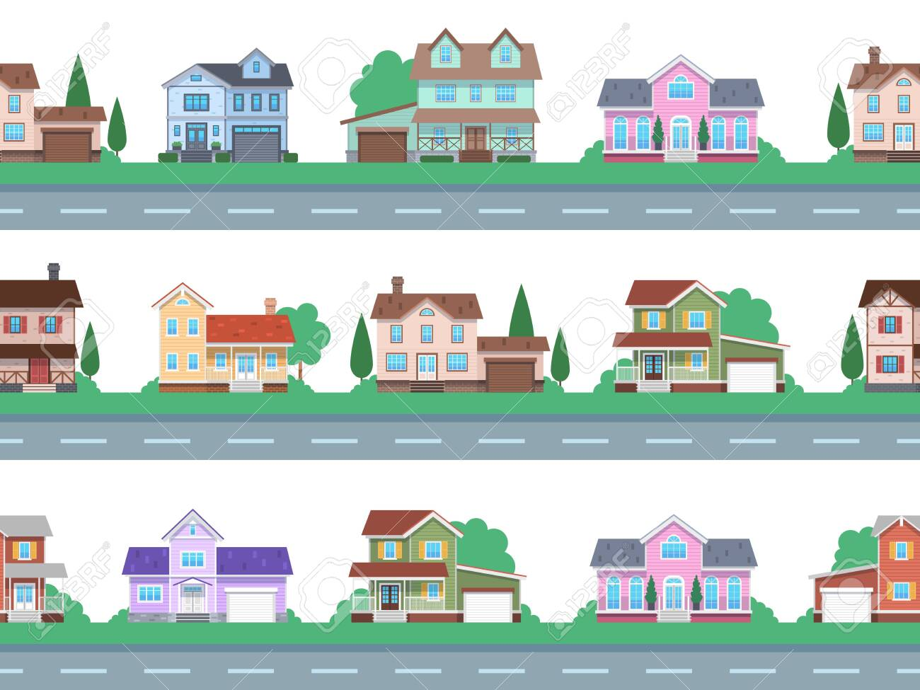 Houses on road. Home facades, cottage or suburban townhouse, front view family house with garage and terrace, architecture real estate modern design, cartoon seamless flat vector pattern and borders - 154561551