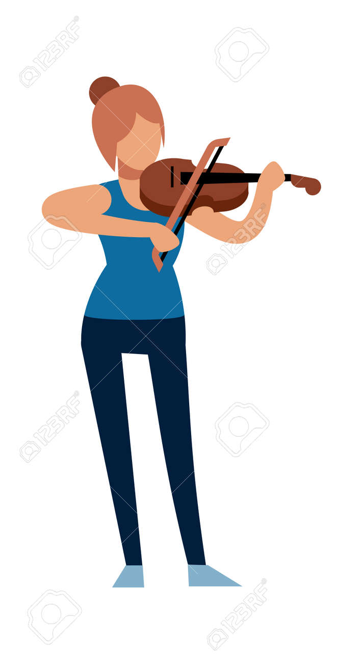 Woman musician. Classic female violinist character in casual clothes with violin plays melody, acoustic music show, symphony concert in opera or theater, flat vector cartoon isolated illustration - 162549255