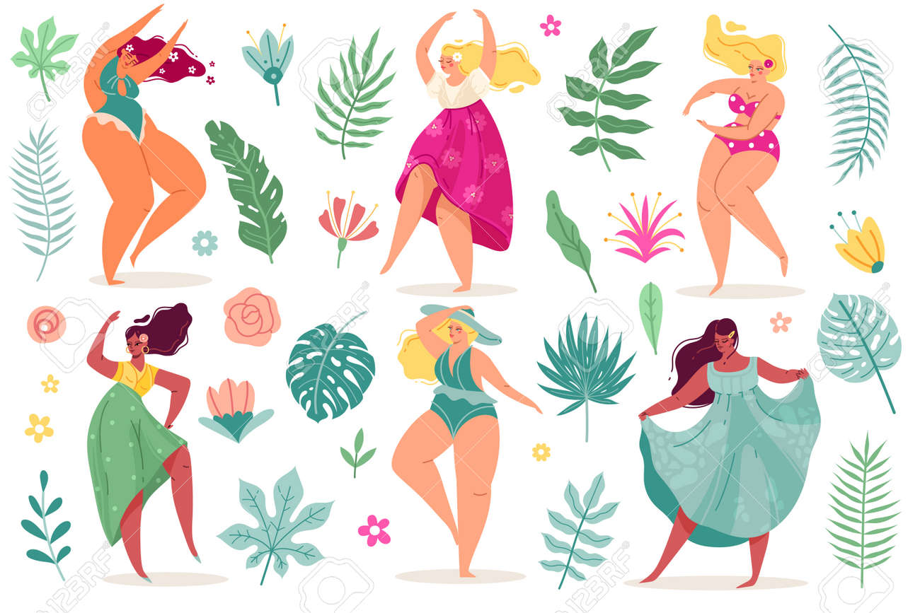 Summer flowers women. Pretty body positive dance young girls in dresses and swimsuits with long hair, tropical exotic leaves and flowers. Vector modern cartoon flat style isolated set - 171265369