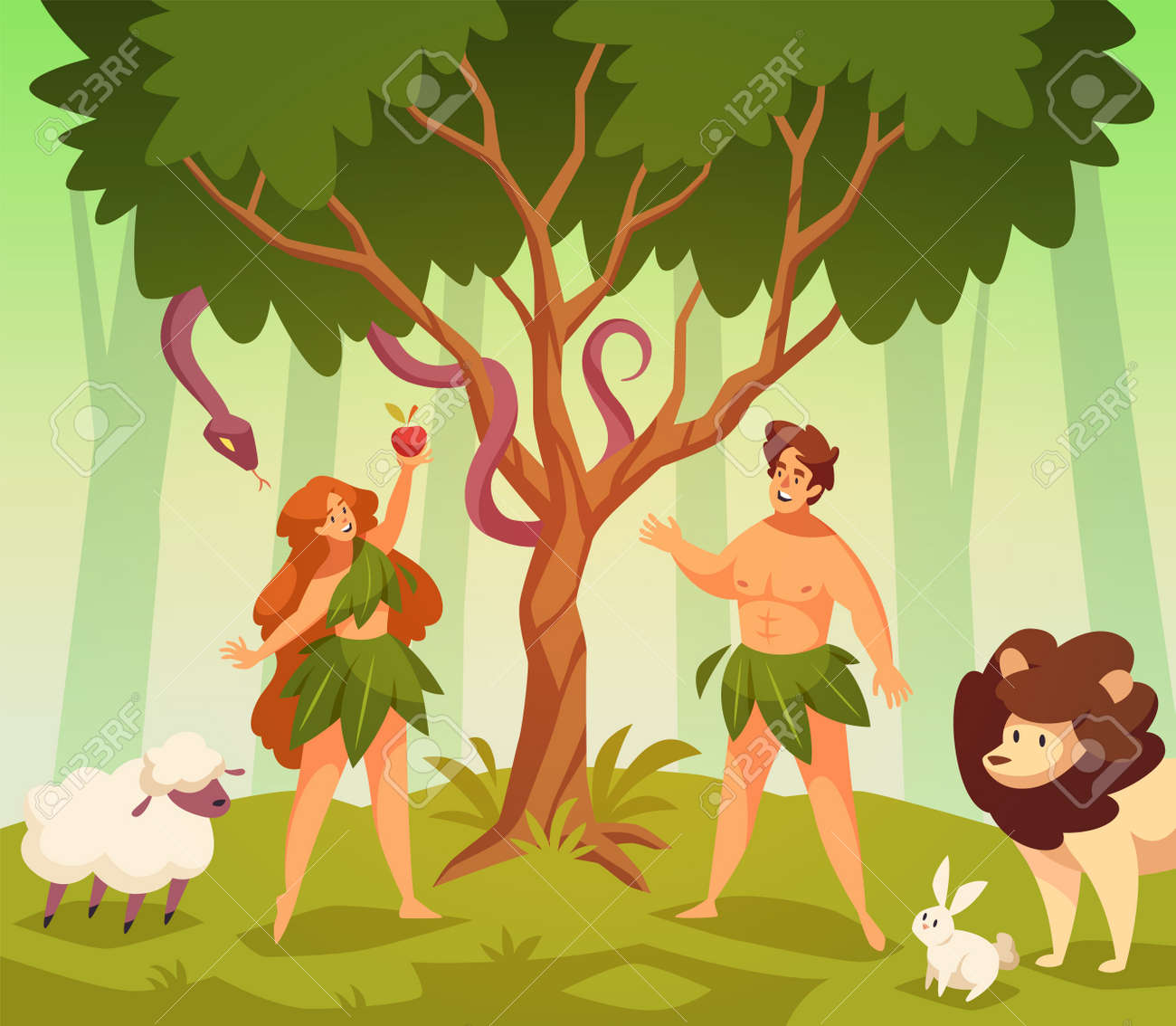 Adam and eve. Bible story scene first man and woman in garden eden, knowledge good and evil, snake of temptation and apple. Couple stand under tree. Religion scene vector cartoon concept - 171265371
