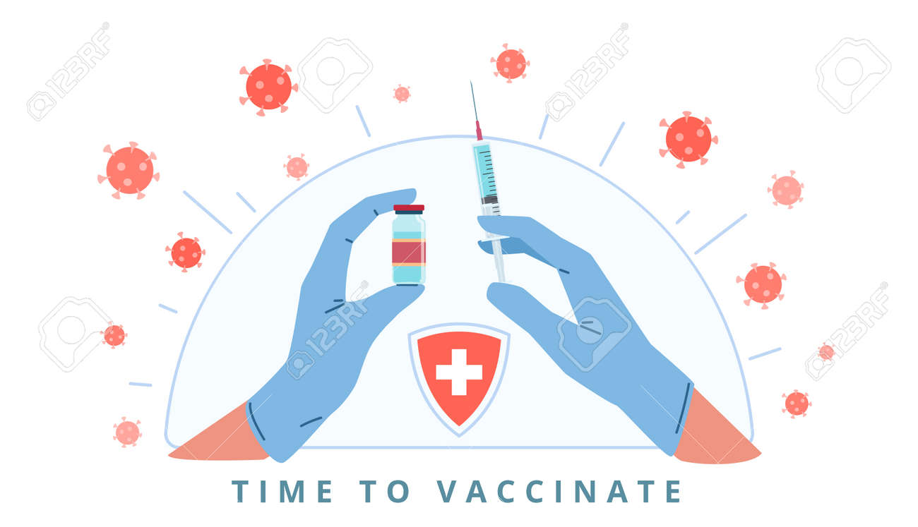 Hands with syringe. Arms in medical gloves make injection, virus protection, immune system development, bacteria and germs. Coronavirus prevention, Covid-19 vaccination poster vector concept - 171265374