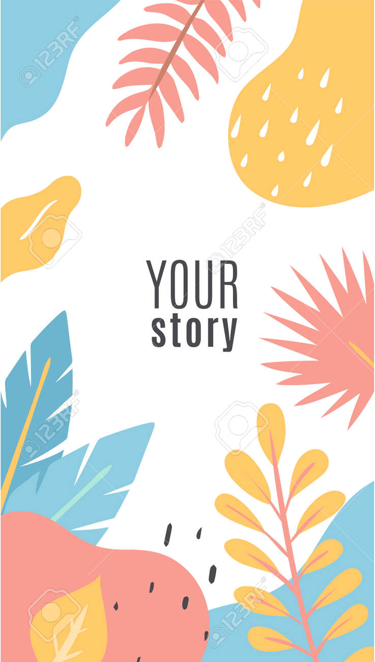 Floral cover design. Social networks posts. Multicolor abstract shapes. Palm tree branches and leaves. Doodle banner with decorative natural elements and copy space. Vector illustration - 171599868