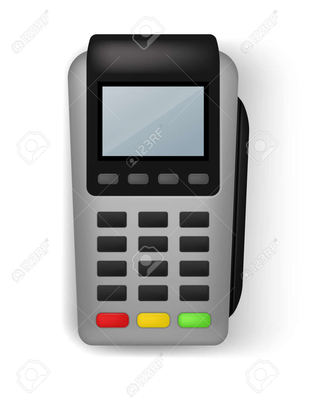 Payment terminal. Realistic banking electronic equipment. wireless gadget to pay for purchases. Financial transaction. Device for money transfer with credit cards. Vector illustration - 171599870