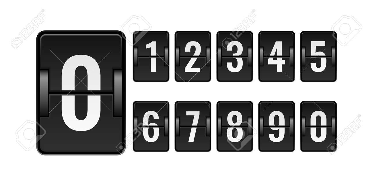 Scoreboard mechanical. Numbers for counter. Flipping watch panel elements kit. Isolated square board set for time scoring. Automatic countdown equipment. Vector clock or calendar mockup - 171599871