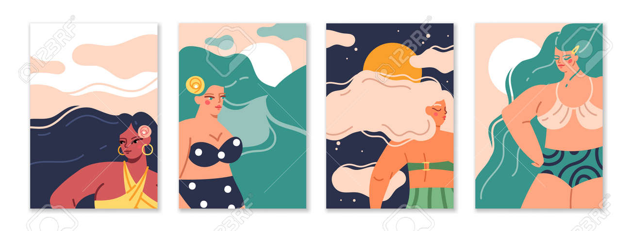 Female long hair. Cartoon women with wavy hairstyle. Cute characters wear swimsuits. Beautiful femmes and nature silhouettes. Summer recreation. Girl portraits. Vector greeting cards set - 171599875