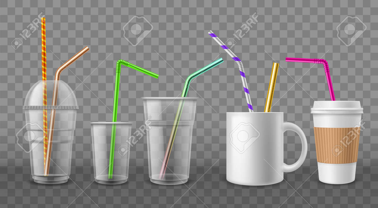 Cups with straws. Realistic disposable mugs. 3D ceramic and cardboard utensil with metal or plastic beverage tubes. Drinking bar devices mockup. Vector coffee or cocktail tableware set - 171599882