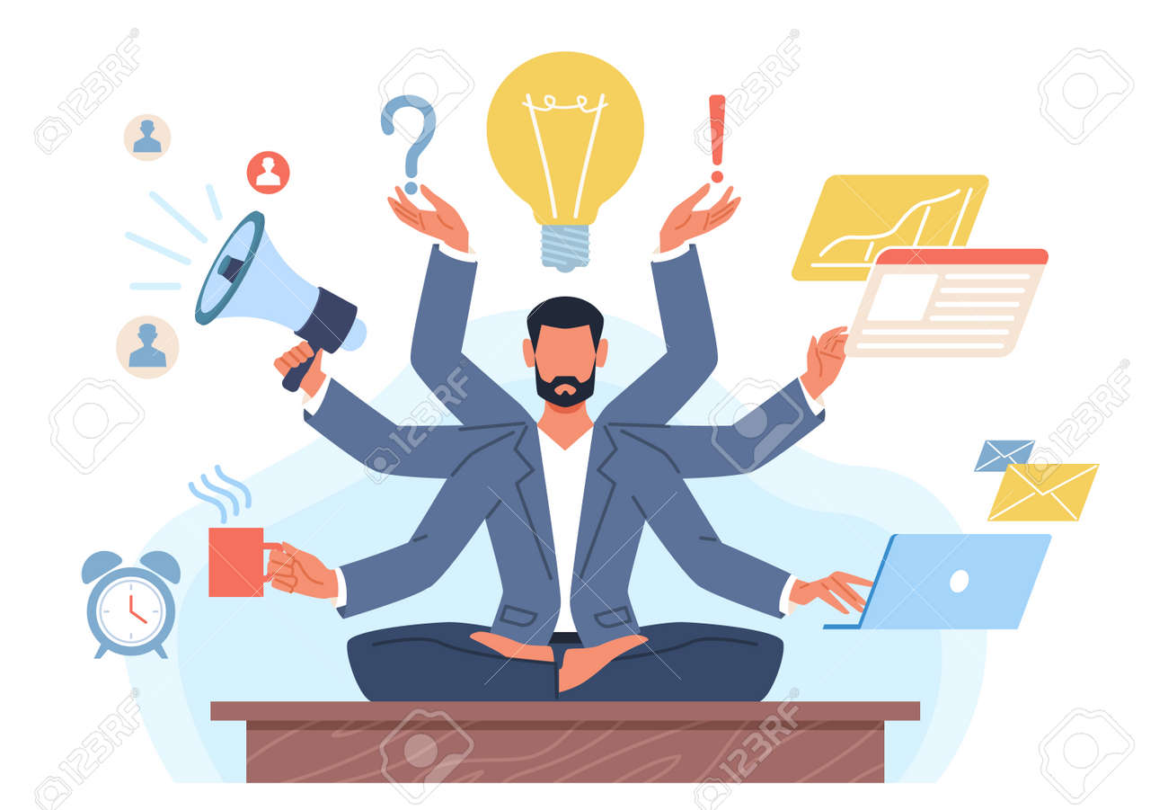 Multitasking man. Businessman with many hands in lotus position solves tasks at same time. Manager yoga zen. Productive work process. Effective management. Vector workaholic concept - 171599886