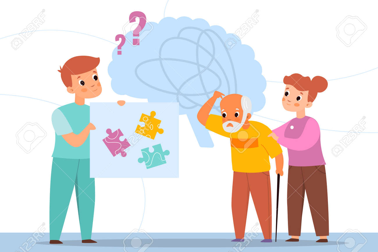 Dementia man. Oldster brain confusion. Elderly care. Volunteer and doctor help. Senior male with age memory problems and consciousness clouding. Vector medical support for grandparents - 171599888