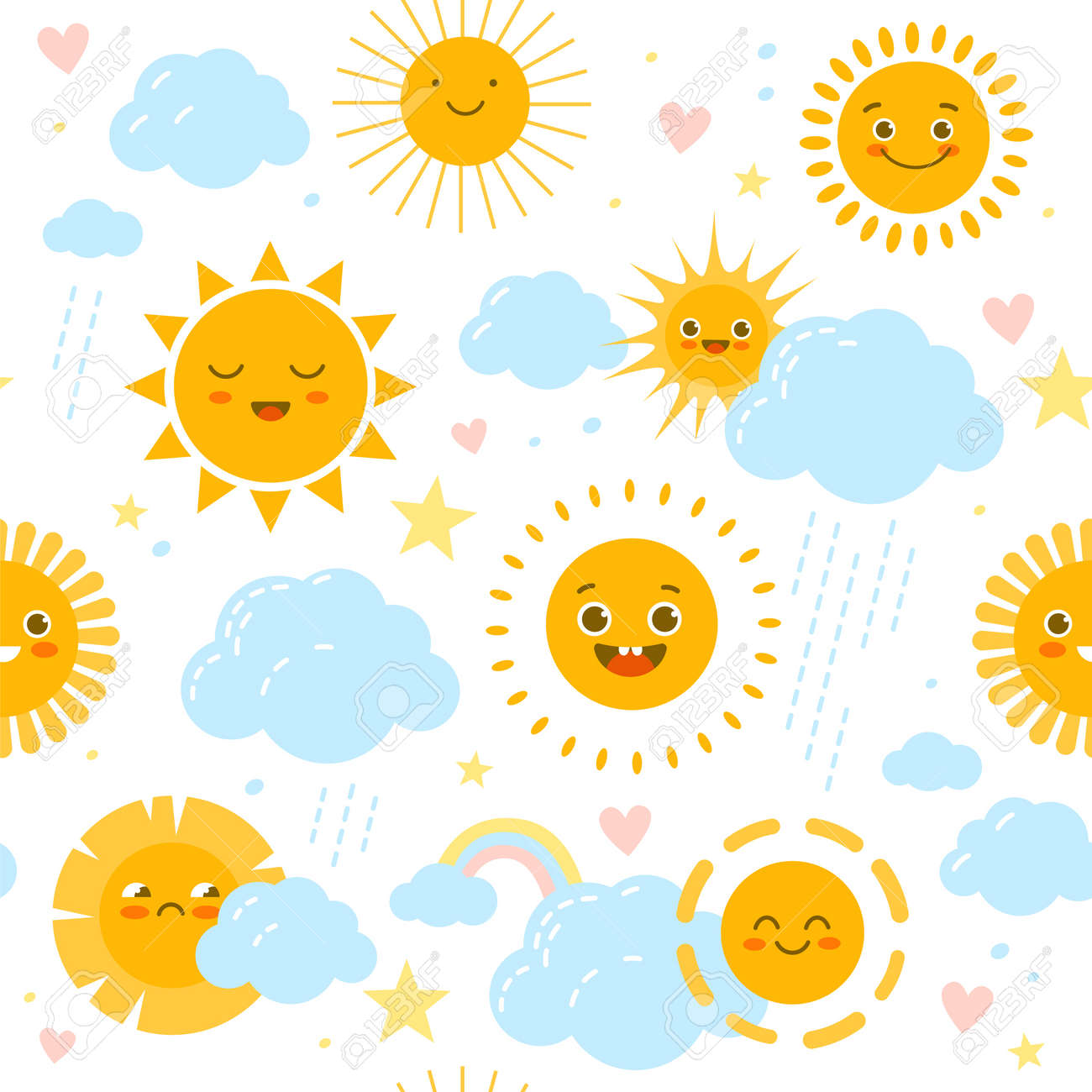 Sun seamless pattern. Baby print with weathers happy or sad smiles. Rainbow and clouds with raindrops. Funny nursery decor. Kids soft pastel colors stars and hearts. Vector background - 171599889