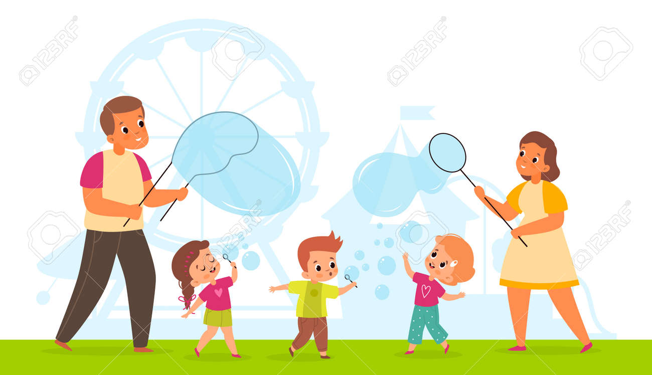 Bubbles show. Cute happy children and adults blowing soap bubbles in park. Cartoon kids and parents playing with air foam balls. Summer family vacation. Outdoor leisure. Vector concept - 171599891