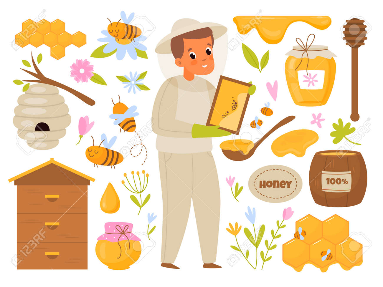 Apiary honey. Cartoon beekeeper. Man takes care of bees producing organic sweets in hive. Barrel and glass can for natural products. Honeycombs and flowers. Vector beekeeping elements set - 171599893
