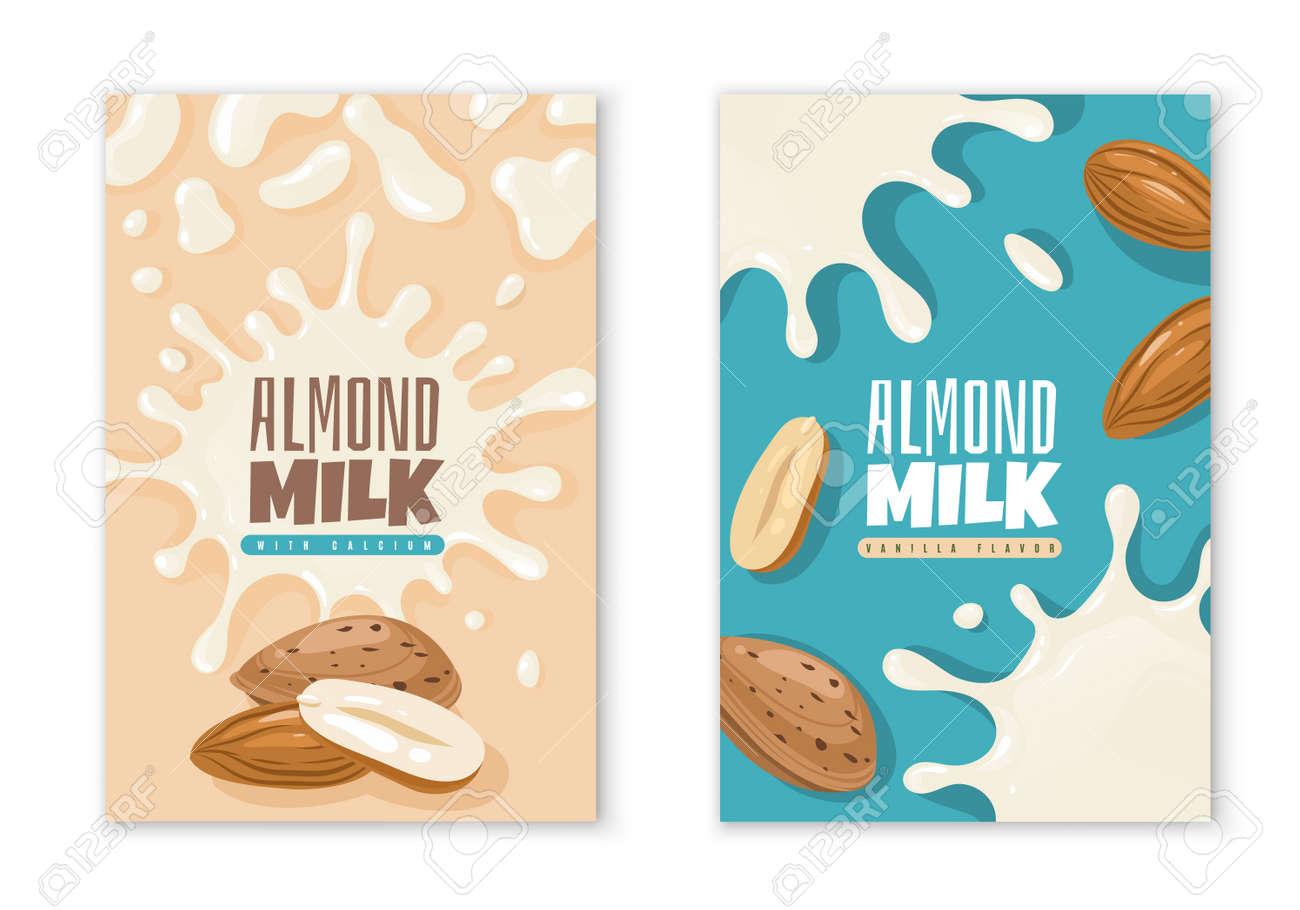 Almond milk labels. Dairy product package design template. Vegan diet organic beverages advertising. Liquid blots and nuts. Natural vegetarian healthy nutrition. Vector packaging stickers mockup set - 171599905