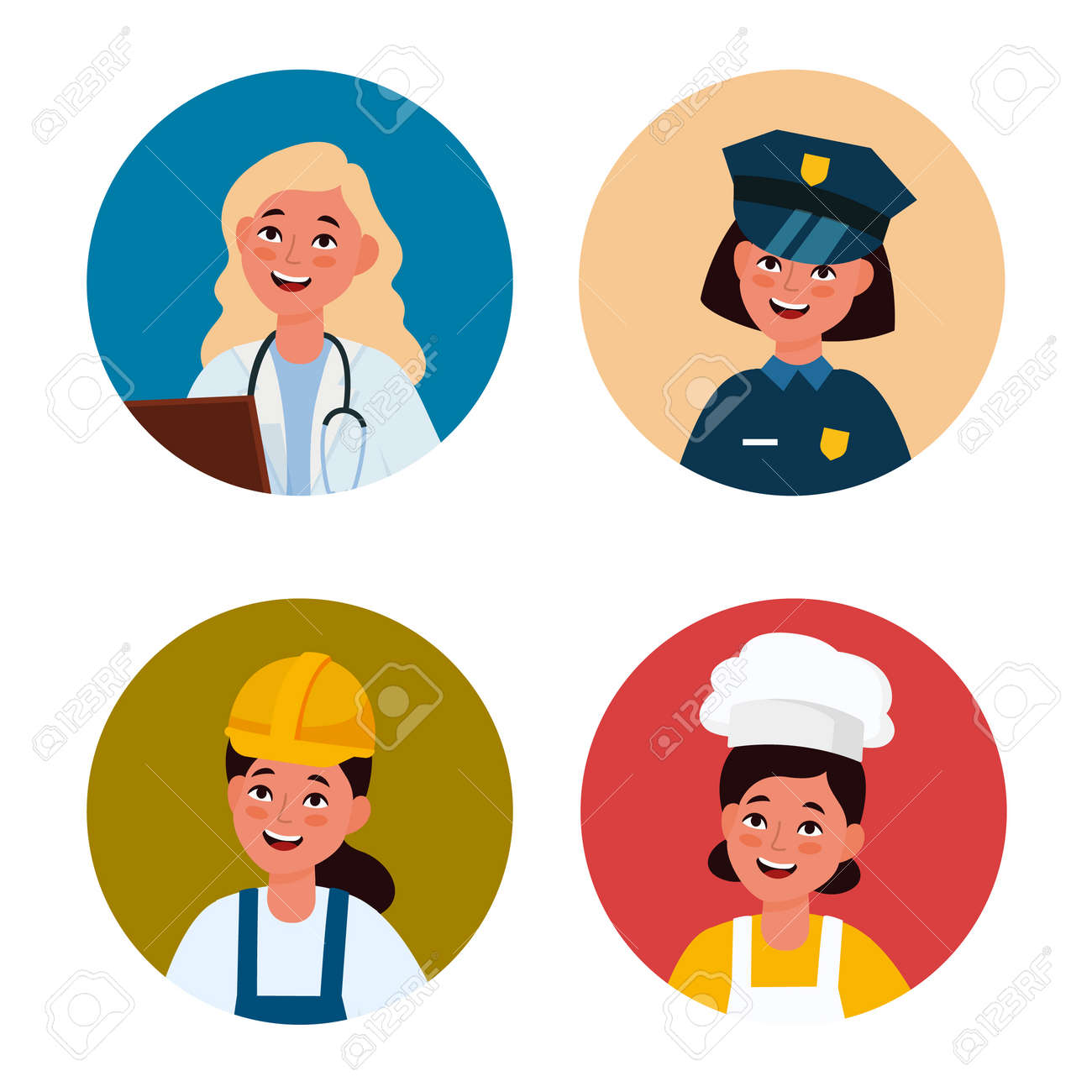 Professional female avatar. Workers women in uniform. Circles with happy faces. Girls wear doctor and police officer, builder or chef costumes. Cartoon portraits. Vector profiles set - 171599916