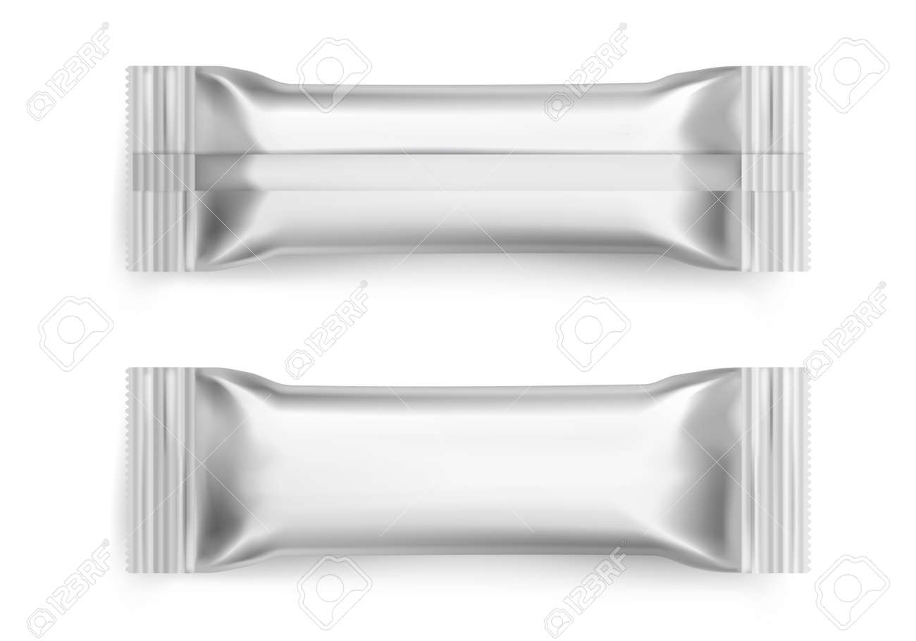 Sachet. Realistic white sugar packet. 3D blank foil packaging mockup for branding. Snacks packages. View from front and back sides on candy metallic wrapper. Vector packing template - 171599918