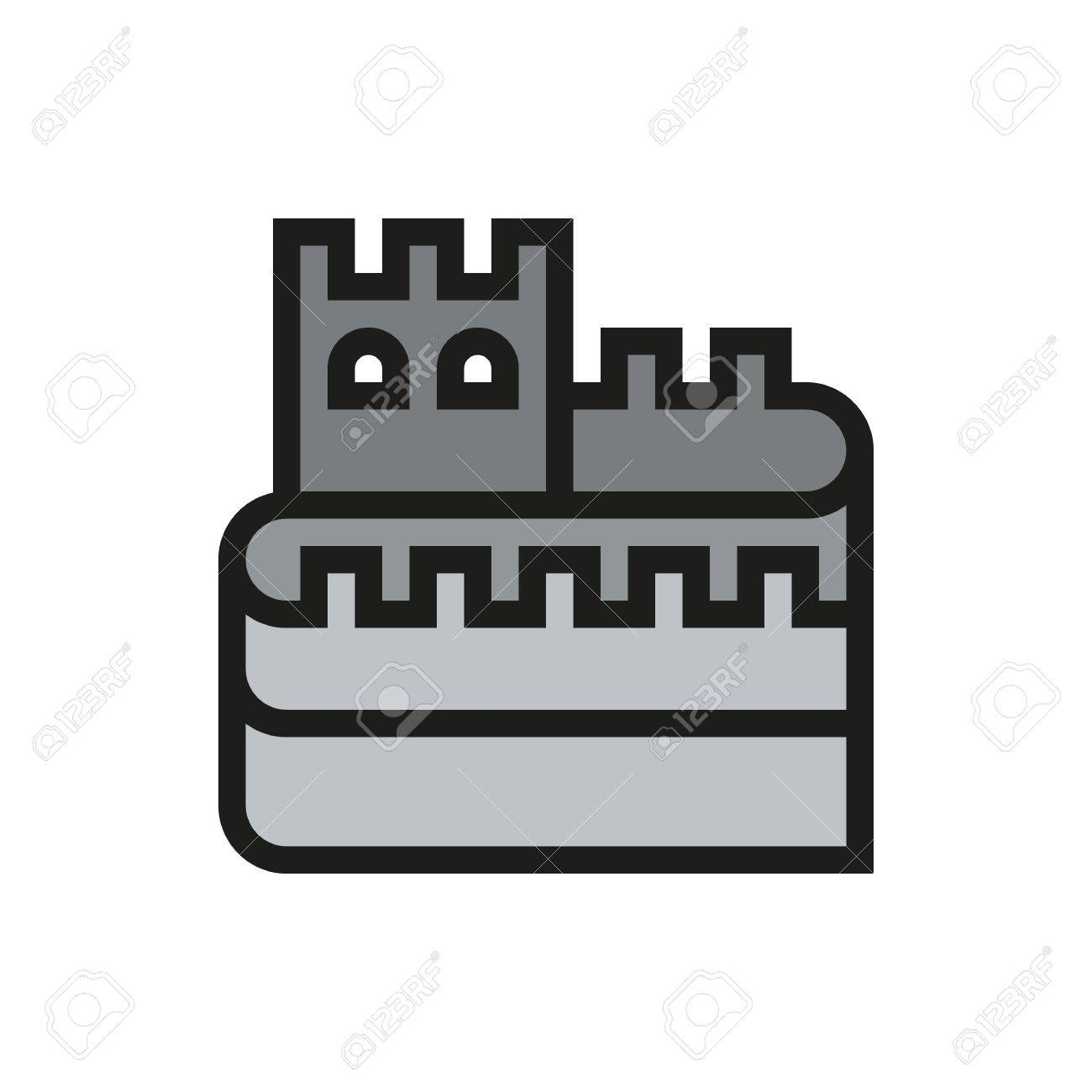 Great Wall Of China Icon On White Background Created For Mobile