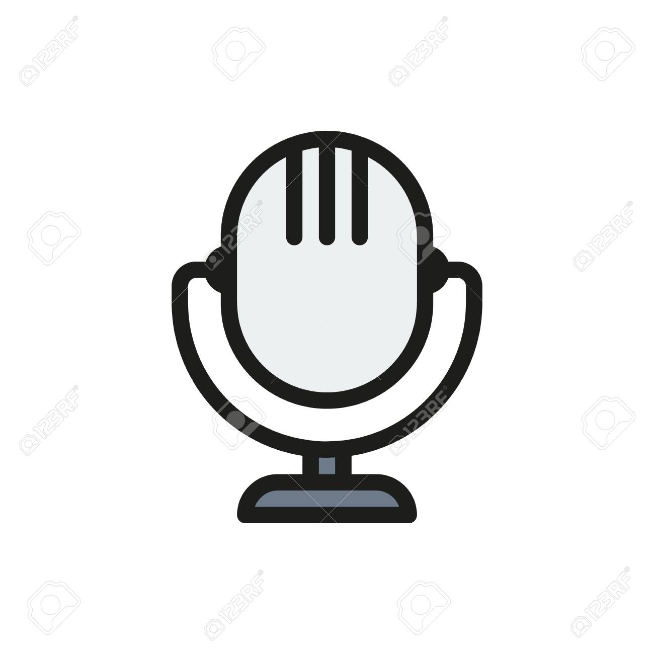 Icono De Microfono Retro Sobre Fondo Blanco Creado Para Movil Web