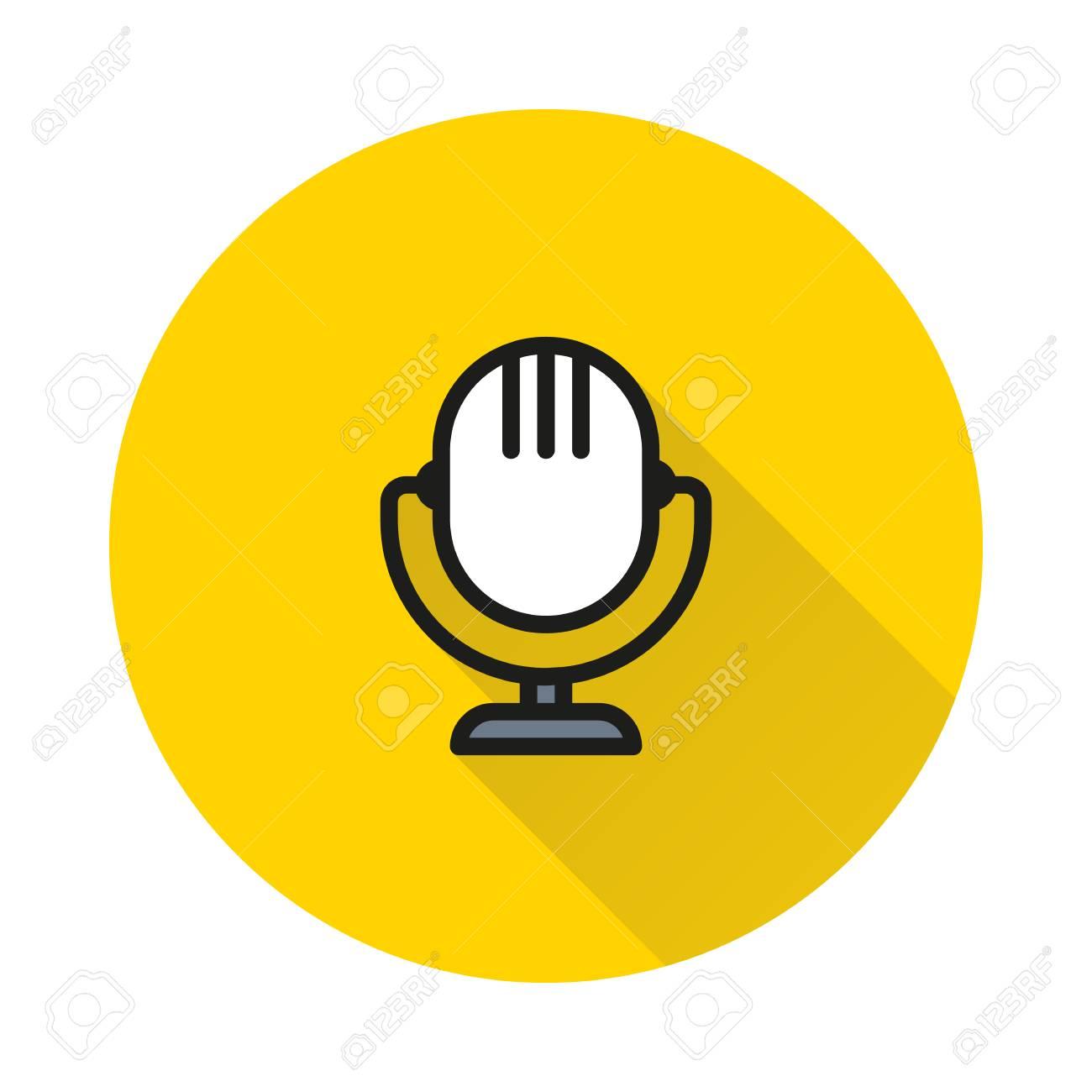 Icono Del Microfono Retro En El Fondo Redondo Creado Por Mobile Web