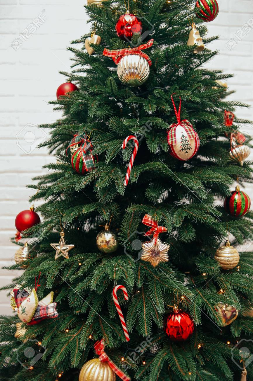 New Year Decorations Style Tartan Red Gold With A Christmas Tree Stock Photo Picture And Royalty Free Image Image 107510680