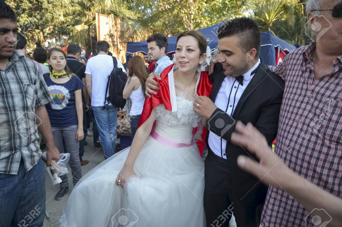 Istanbul, Turkey - June 9, 2013: Newly married couple in the