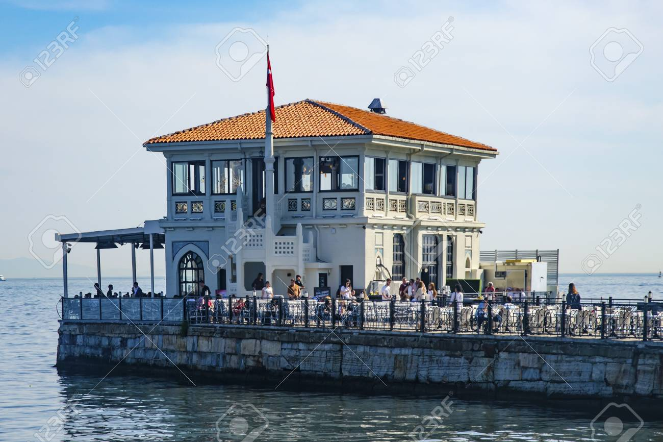 Istanbul, Turkey - May 29, 2016: Historical Moda Port of Moda, Istanbul, Turkey. Istanbul's Kadikoy district, was built in 1915 by architect Vedat Tek. Moda Historical Wharf, and indigenous people of the region, there are many arts and foreign statesmen - 58003887