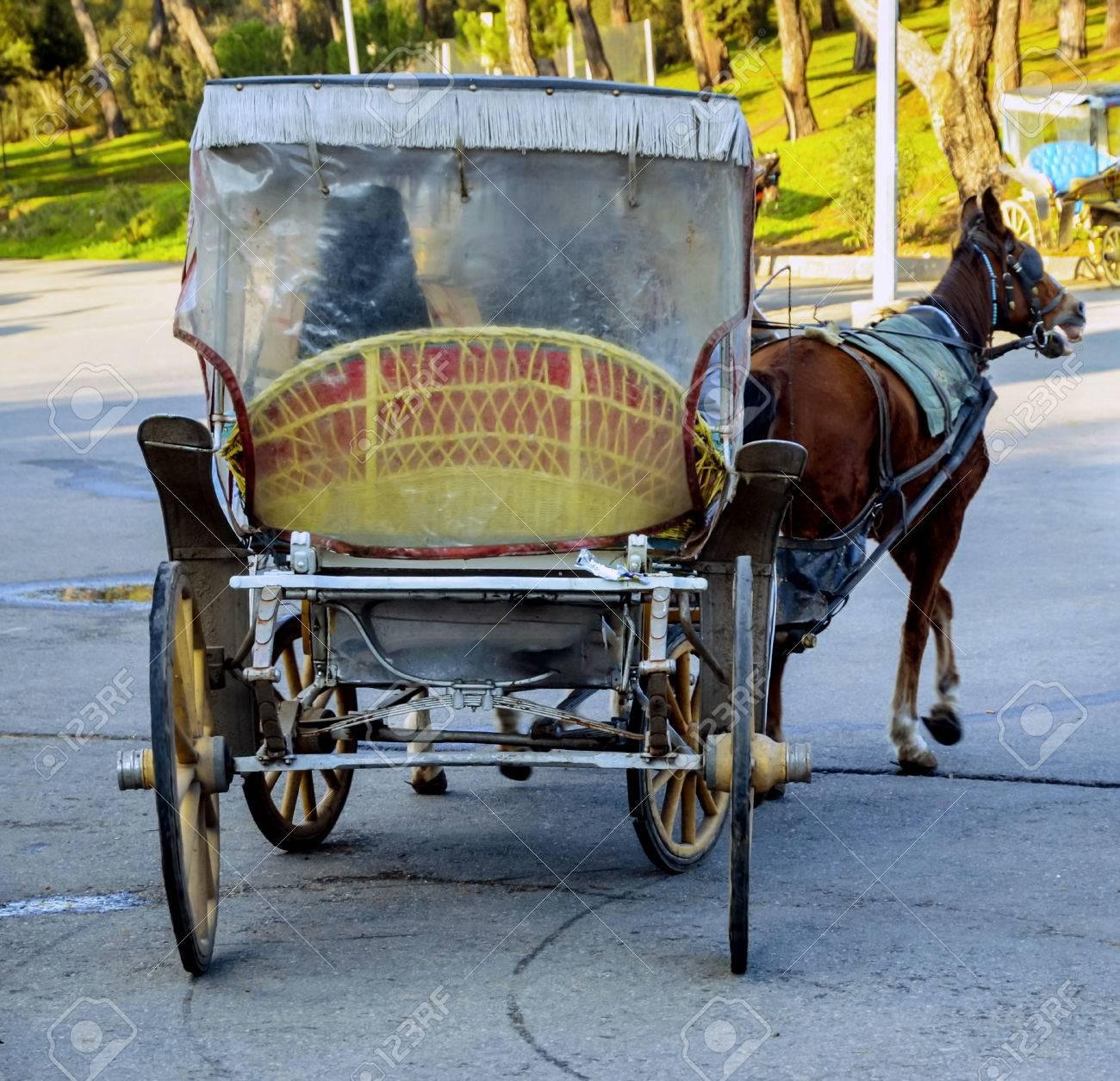 Phaeton, Horse carriage. The symbol of the horse transportation is the transportation vehicle phaetons. - 68348025