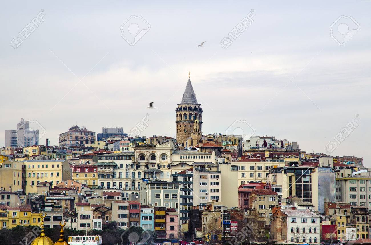 Galata Tower from icons of Istanbul. A fortress located in the Galata district of Istanbul. The structure was built in 528 years, it is among the most important symbols of the city. - 69315400