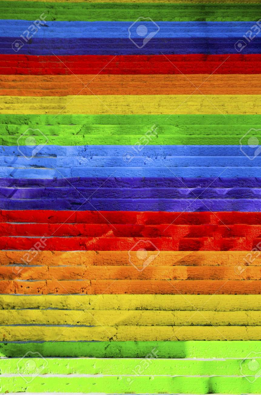 Concrete stairs painted in rainbow colors. Background - 70605687