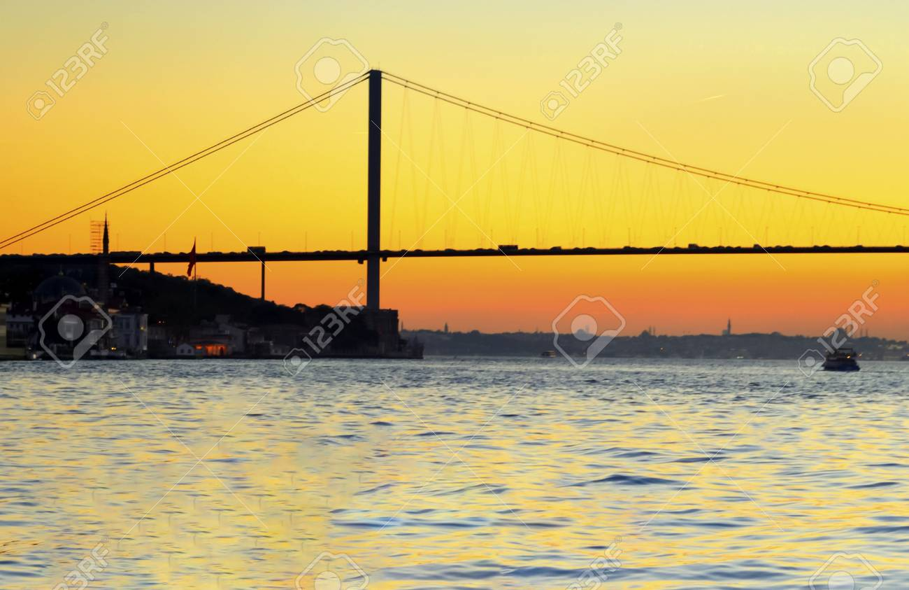 Istanbul Bosporus sunset. Turkey Bosphorus 15th July Martyrs Bridge - 71034719