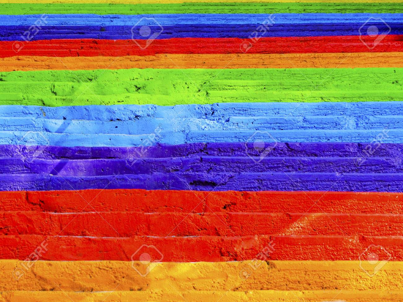 Steps rainbow painted street concrete stairs, background. - 70605688