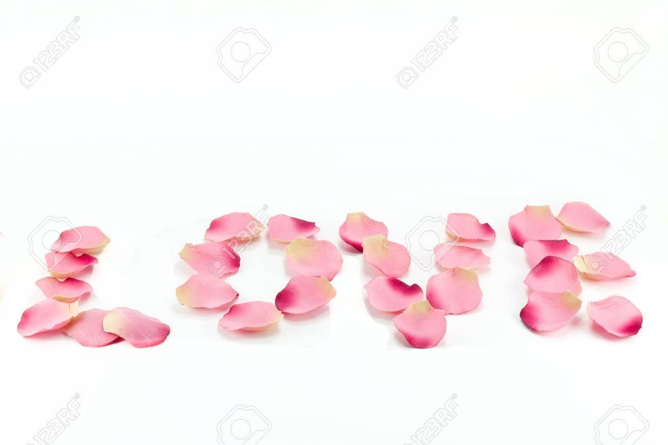 love », écrit avec des pétales de fleurs Banque dimages , 8667289. «