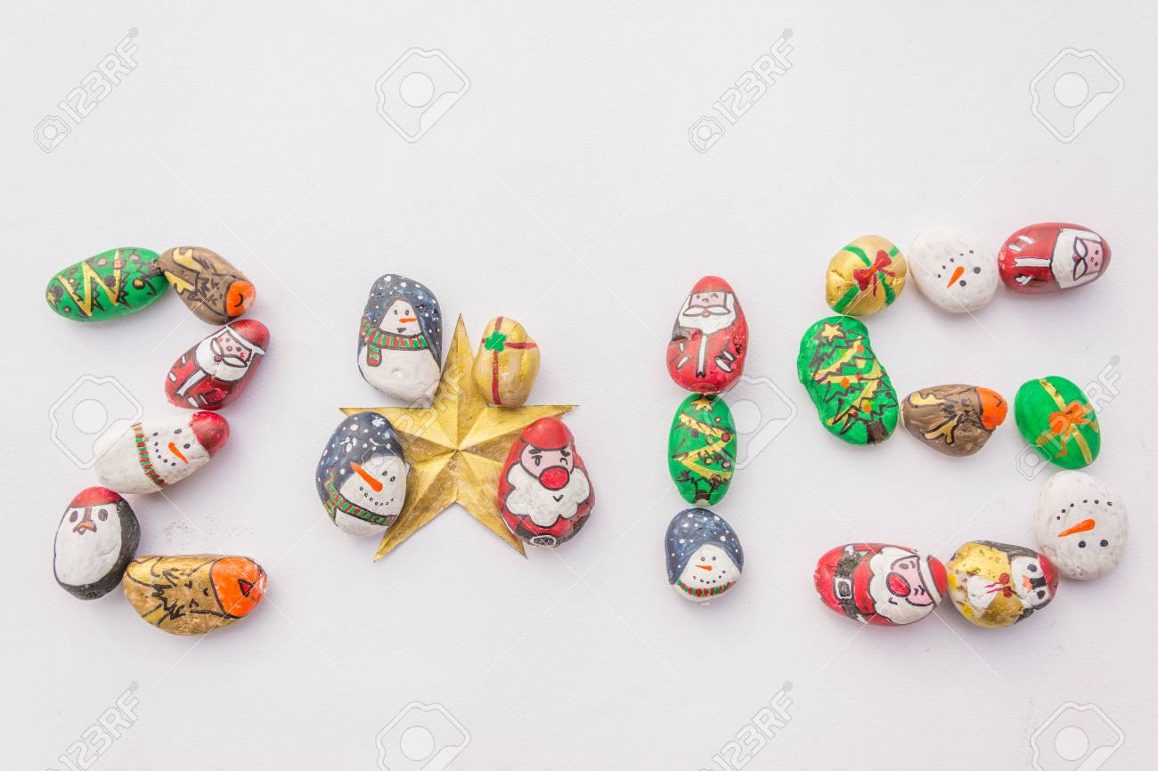 Array Cute Cartoon Of Christmas Rocks In Number 2015 Stock Photo ...