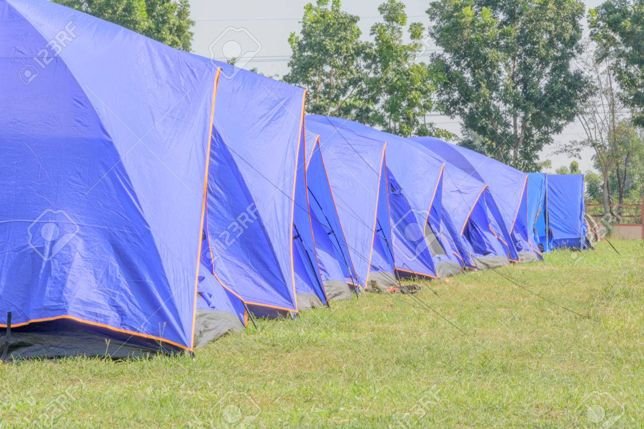 A group of canvas tents at a campground at the ?Maewong? camp