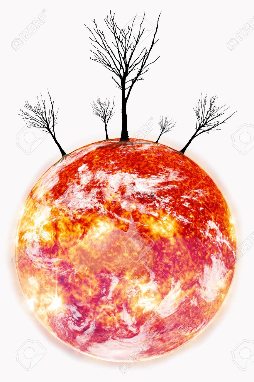 Calentamiento Global Con árbol De Hojas De Pérdida Sobre Fondo Negro ...