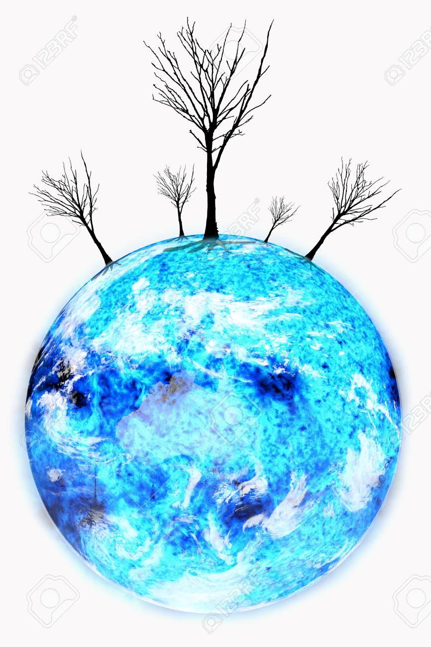 El Calentamiento Global Con El árbol De Hoja De La Pérdida En El ...