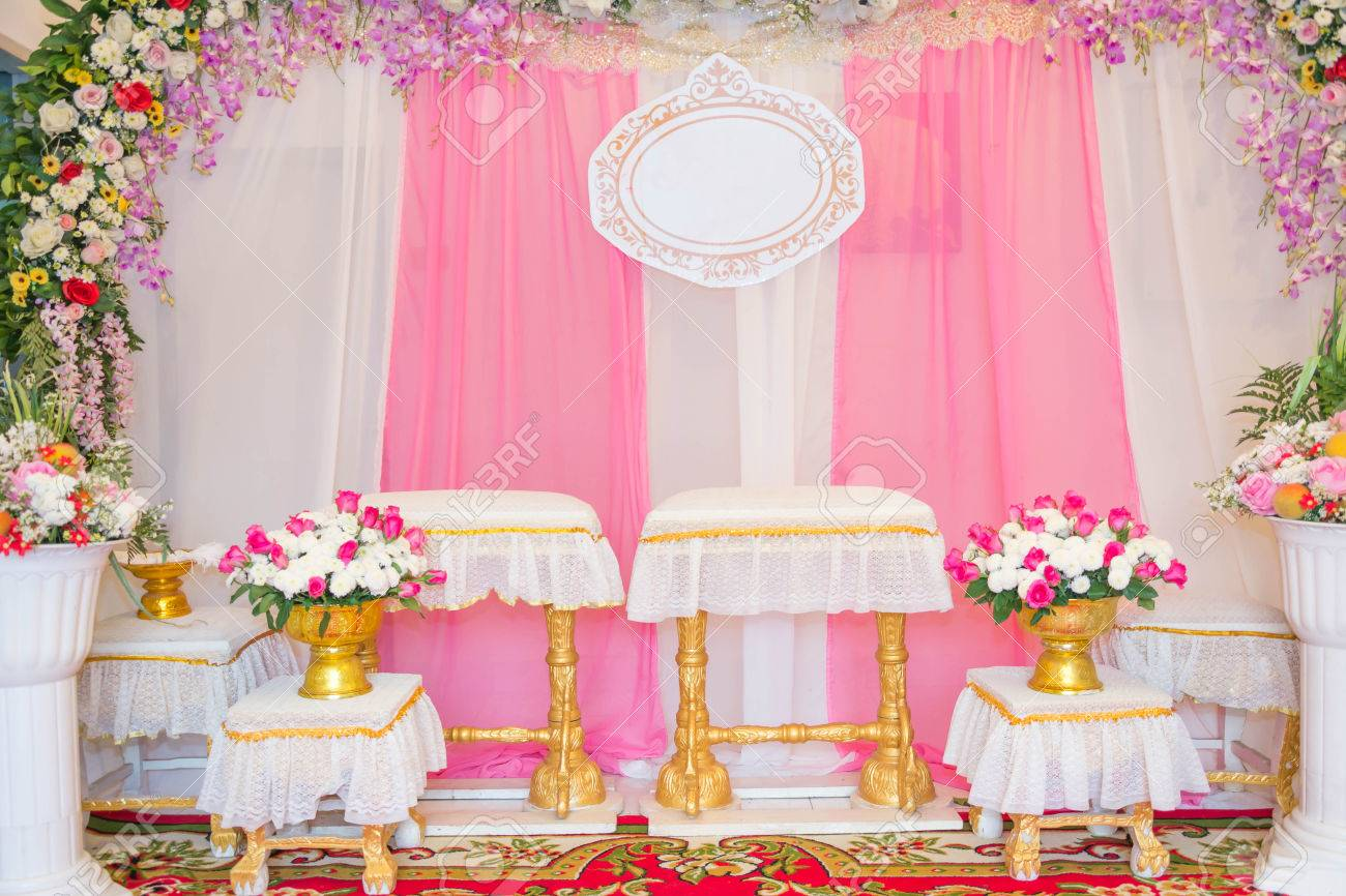 Tables And Chairs Set For Thai Traditional Wedding Customs With ...