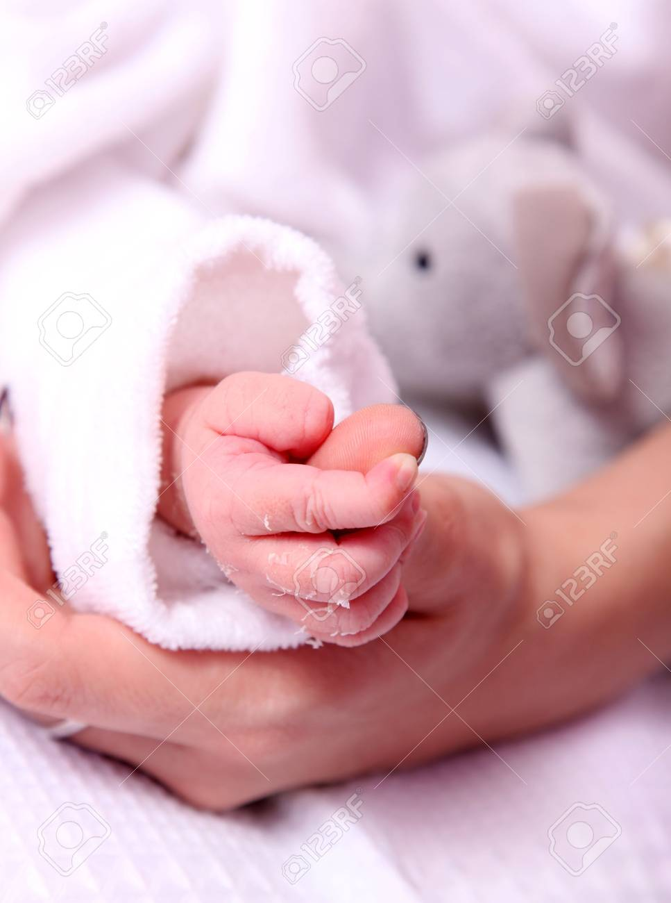 Baby and mother hands over white background Stock Photo - 5879805