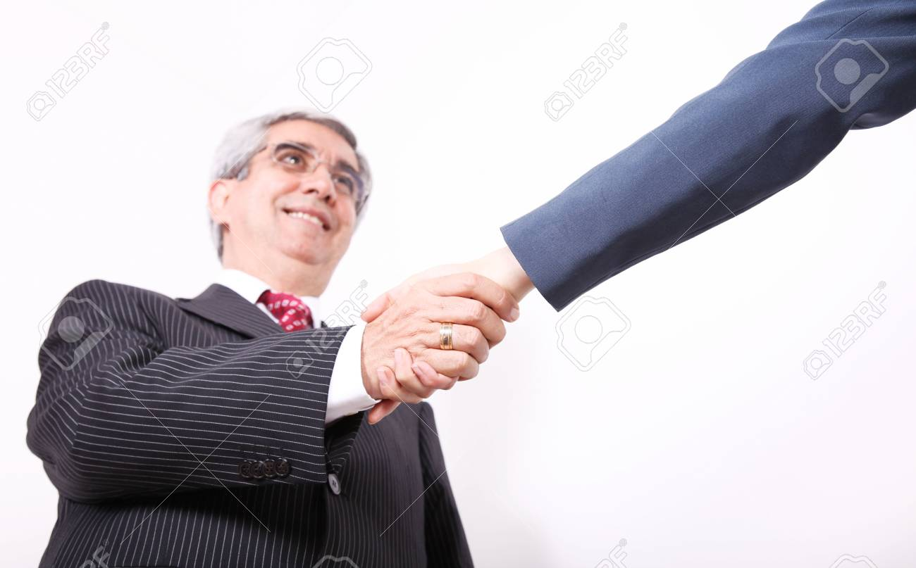 Business man greeting business woman on white background Stock Photo - 6068780