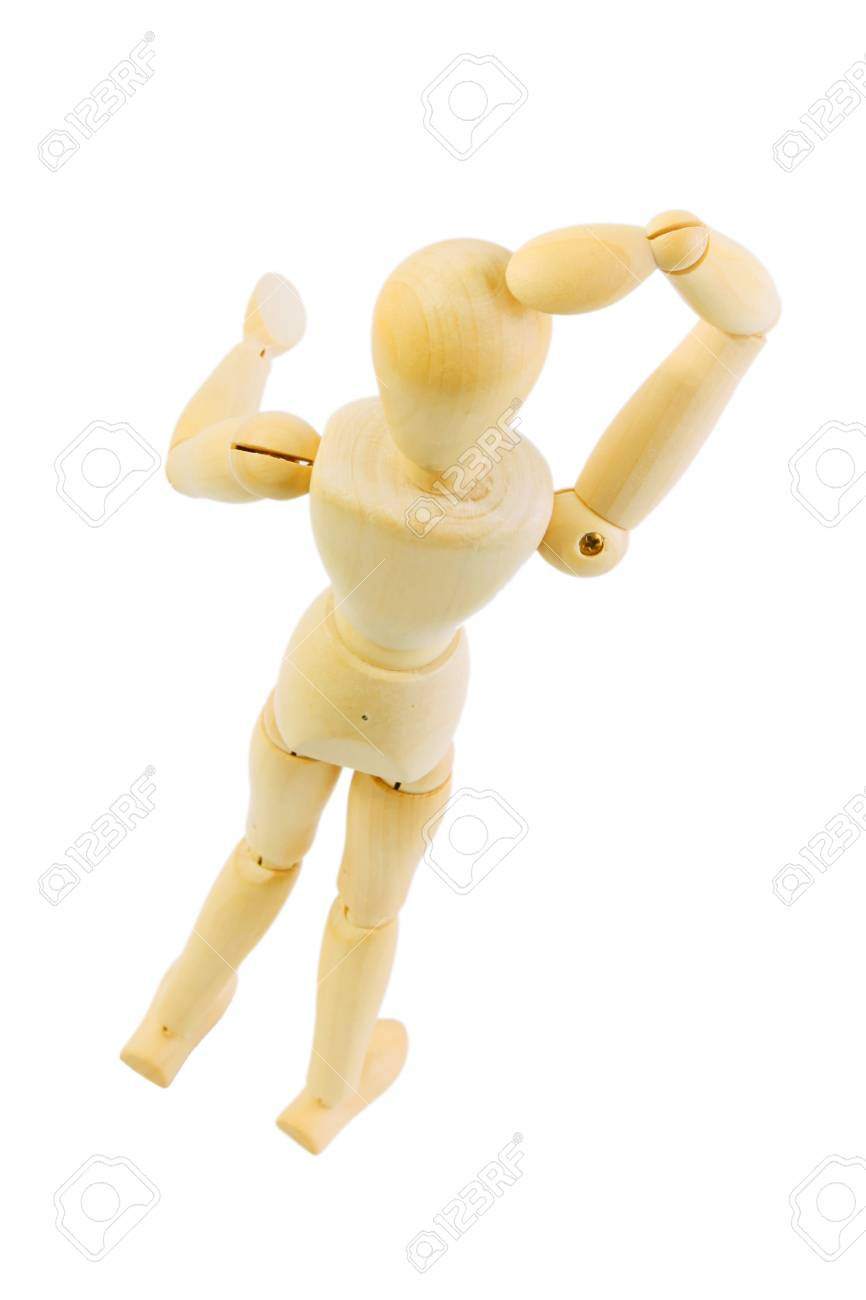 Wooden doll in question attitude over white background. high view Stock Photo - 7549663