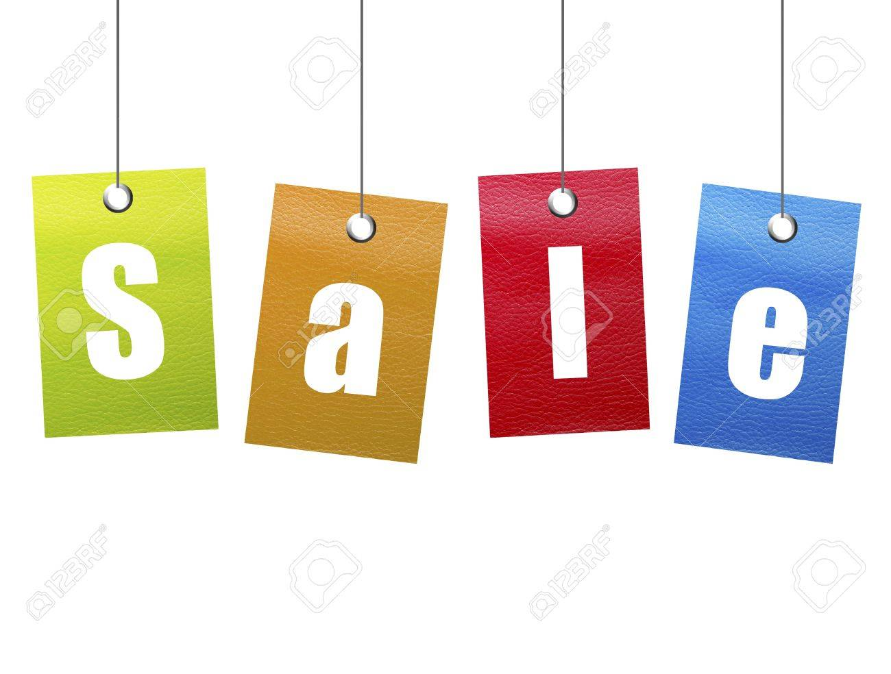 Orange, green, blue and red hangling sale advertisement over white background. Stock Photo - 8912654