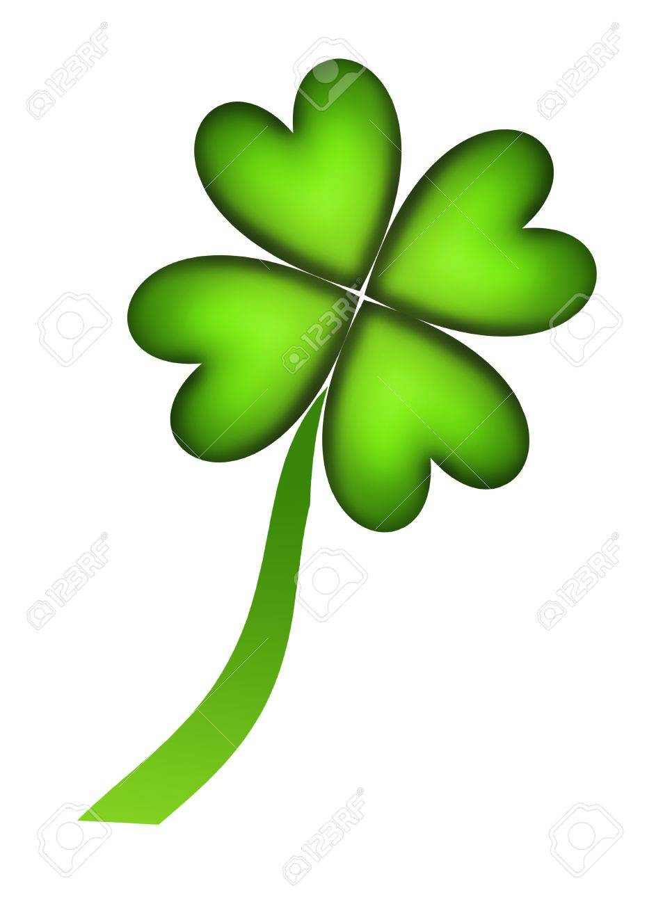 Four leaf clover representing good fortune over white background Stock Photo - 8912414