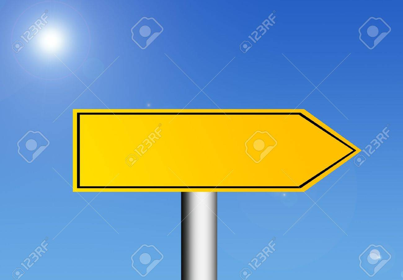 Yellow road sign over sky background with space in blank for insert text or design. Illustration Stock Illustration - 8912867